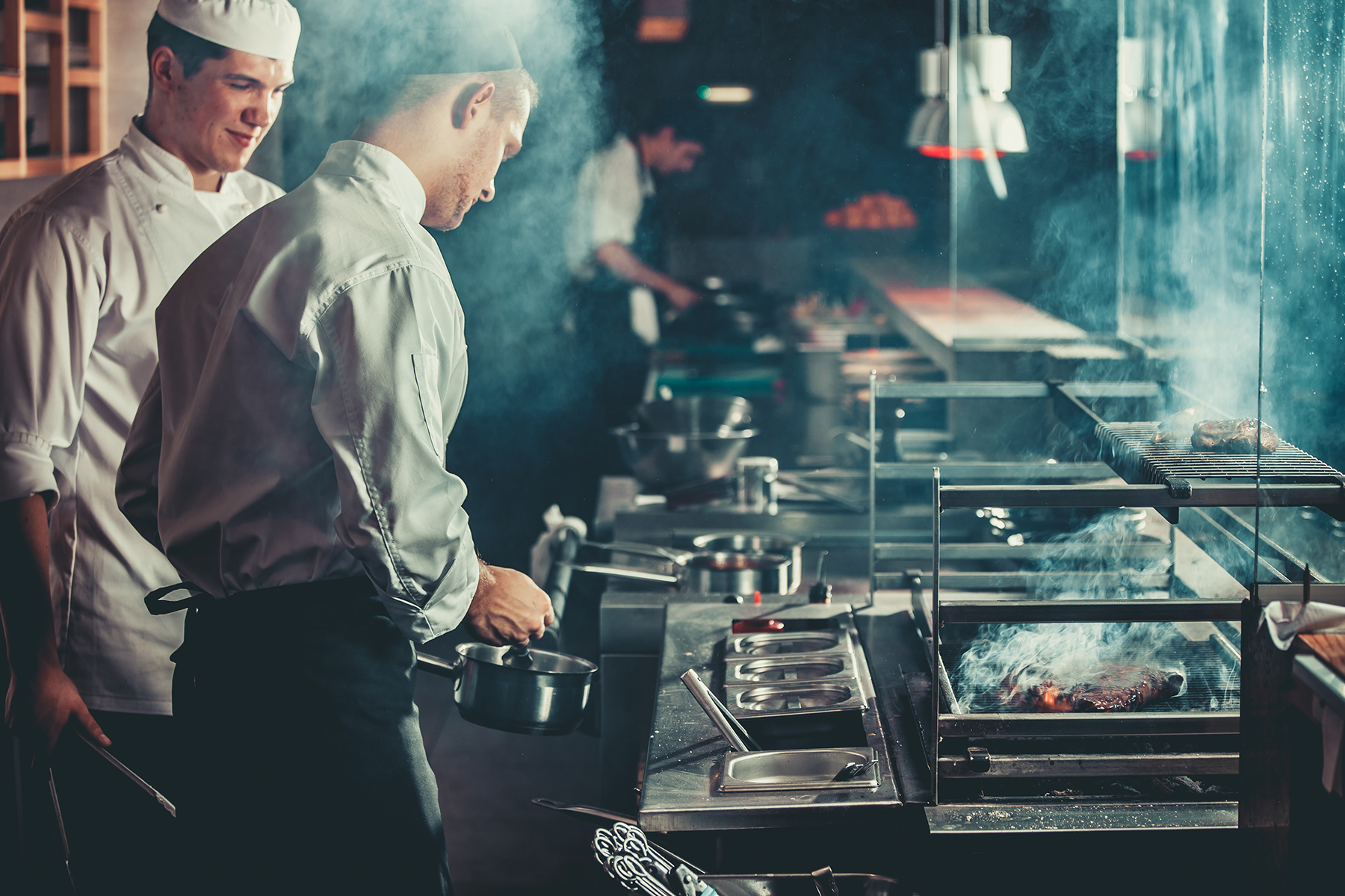 Professional chefs cooking in a commercial kitchen