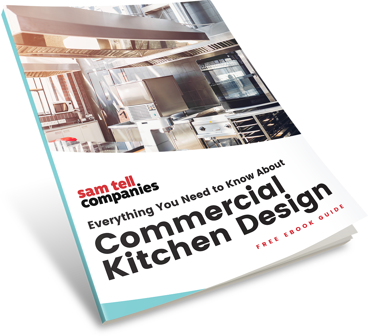 Mockup of eBook titled - Everything You Need to Know About Commercial Kitchen Design