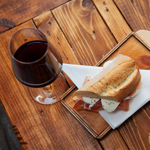Glass of Wine and Bread