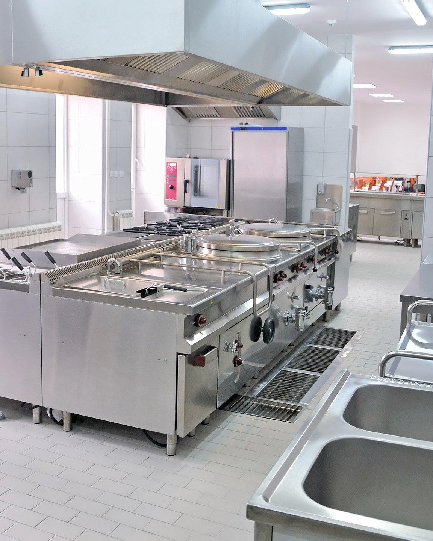 Restaurant Kitchen with Stainless Steel Appliances